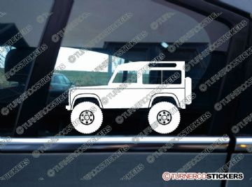 2x Lifted Land Rover Defender 90 WAGON offroad 4x4 silhouette stickers